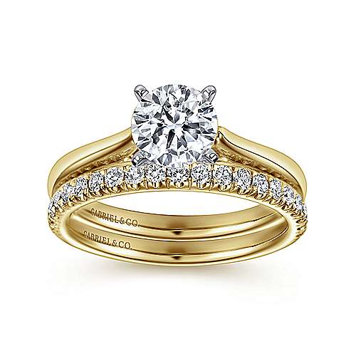 Michelle 14k Yellow/white Gold Round Solitaire Engagement Ring angle 4