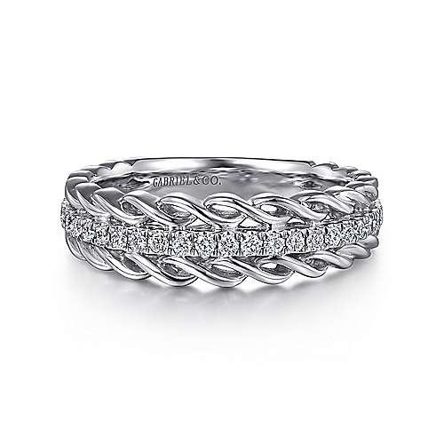 Micro Pave  Fancy Diamond Ring in 14K White Gold