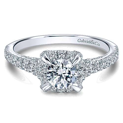 Midnight 14k White Gold Round Halo Engagement Ring angle 1