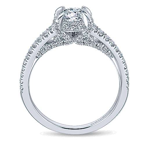 Midnight 14k White Gold Round Halo Engagement Ring angle 2