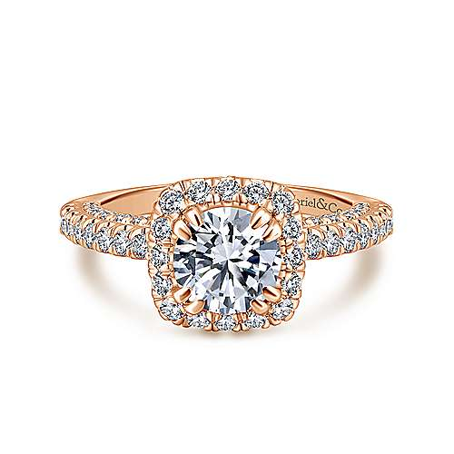 Gabriel - Milan 14k Rose Gold Round Halo Engagement Ring