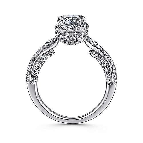 Milan 14k White Gold Cushion Cut Halo Engagement Ring