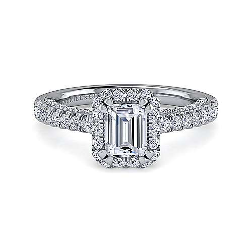Gabriel - Milan 14k White Gold Emerald Cut Halo Engagement Ring