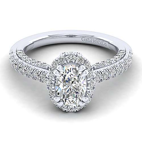 Gabriel - Milan 14k White Gold Oval Halo Engagement Ring