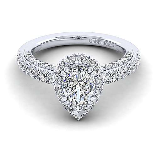 Gabriel - Milan 14k White Gold Pear Shape Halo Engagement Ring