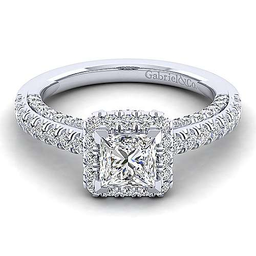 Gabriel - Milan 14k White Gold Princess Cut Halo Engagement Ring
