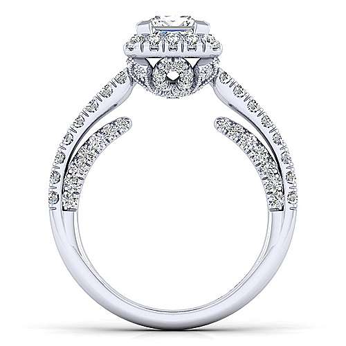 Milan 14k White Gold Princess Cut Halo Engagement Ring angle 2