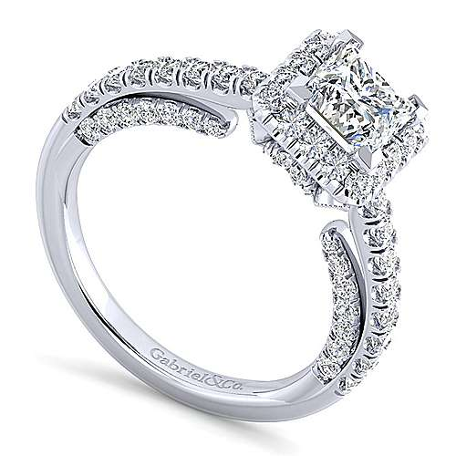 Milan 14k White Gold Princess Cut Halo Engagement Ring angle 3