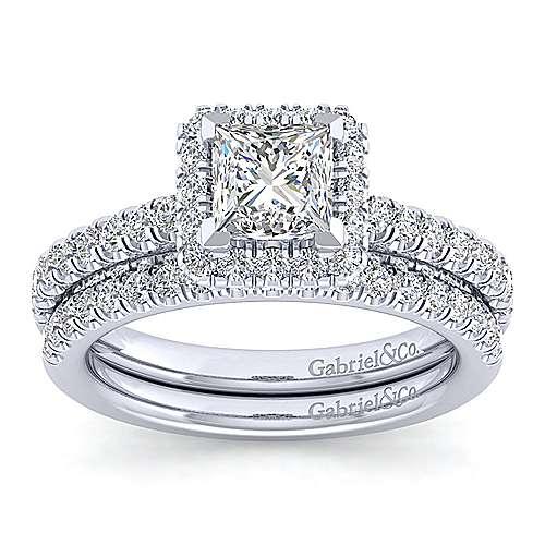 Milan 14k White Gold Princess Cut Halo Engagement Ring angle 4