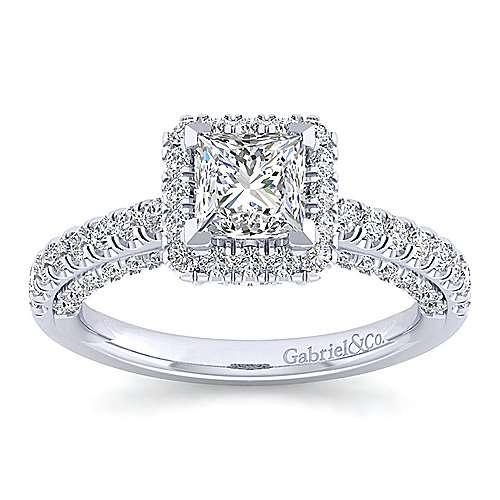 Milan 14k White Gold Princess Cut Halo Engagement Ring angle 5