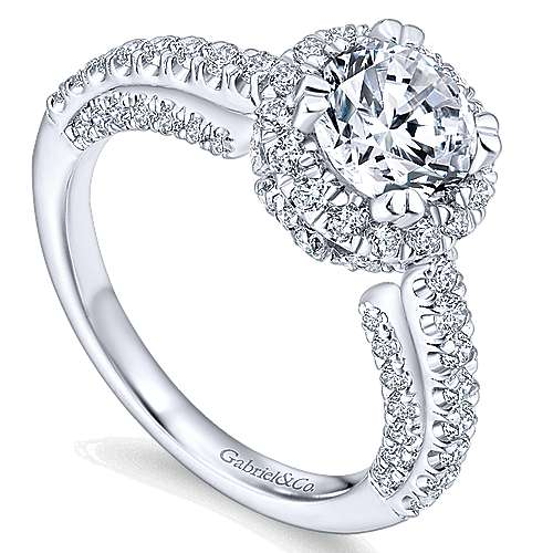 Milan 14k White Gold Round Halo Engagement Ring angle 3
