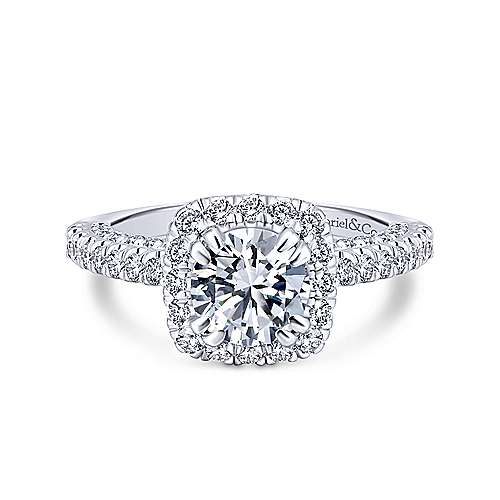 Gabriel - Milan 14k White Gold Round Halo Engagement Ring