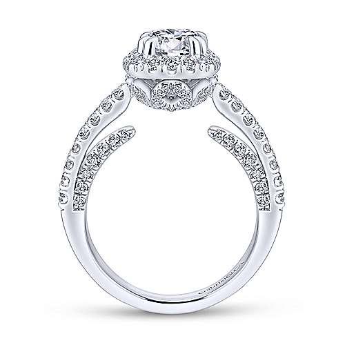 Milan 14k White Gold Round Halo Engagement Ring angle 2