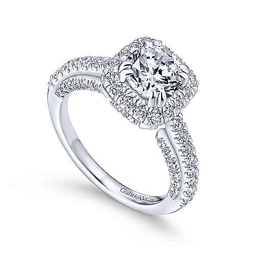 Milan 14k White Gold Round Halo Engagement Ring angle 3