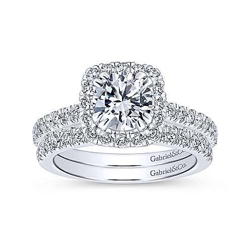 Milan 14k White Gold Round Halo Engagement Ring angle 4