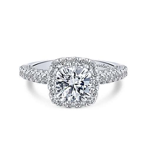 Gabriel - Milan 18k White Gold Round Halo Engagement Ring