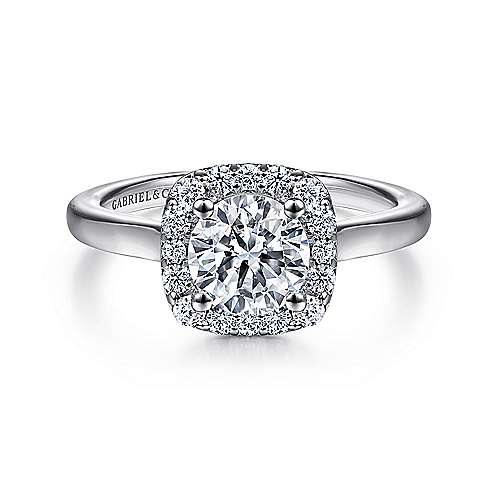Gabriel - Miley 14k White Gold Round Halo Engagement Ring