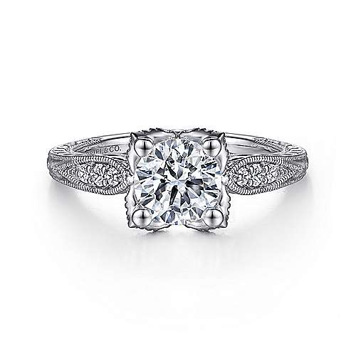 Gabriel - Millie 14k White Gold Round Straight Engagement Ring