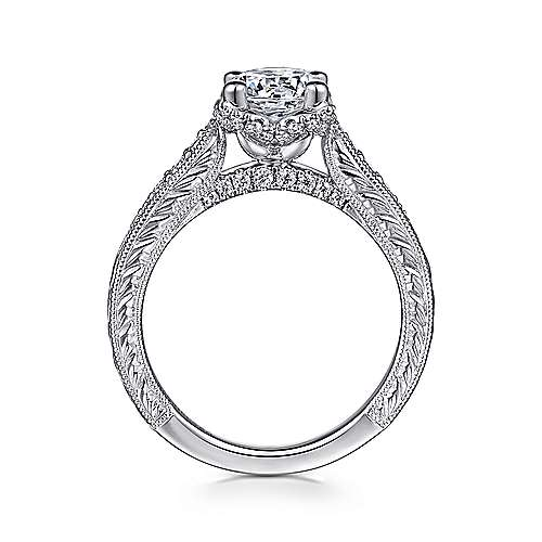 Millie 14k White Gold Round Straight Engagement Ring angle 2