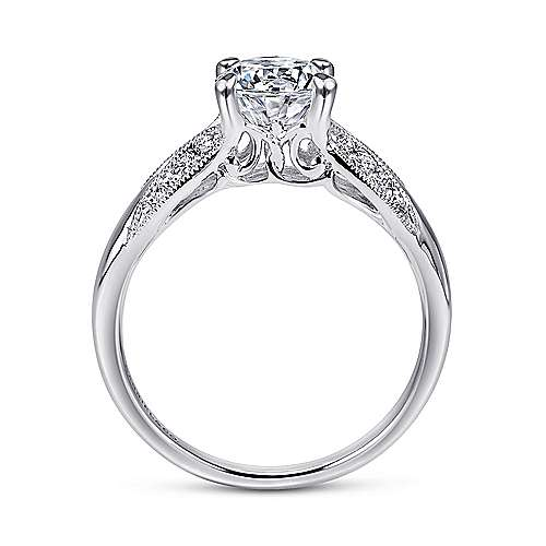 Mimosa 18k White Gold Round Straight Engagement Ring angle 2