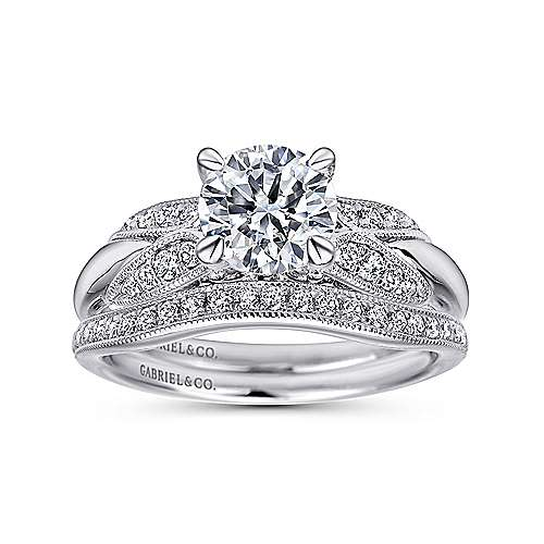 Mimosa 18k White Gold Round Straight Engagement Ring angle 4