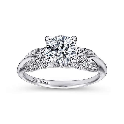 Mimosa 18k White Gold Round Straight Engagement Ring angle 5