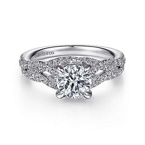 Gabriel - Mindy 14k White Gold Round Twisted Engagement Ring