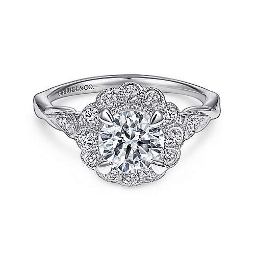 Gabriel - Minnie 14k White Gold Round Halo Engagement Ring