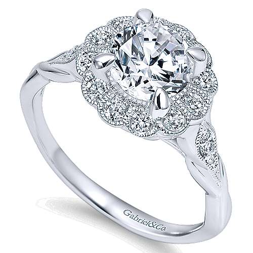 Minnie 14k White Gold Round Halo Engagement Ring angle 3
