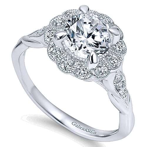 Minnie 14k White Gold Round Halo Engagement Ring