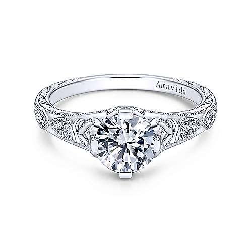 Gabriel - Miriam Platinum Round Straight Engagement Ring