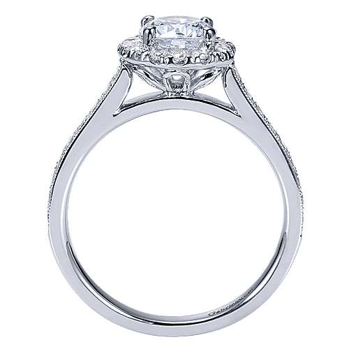 Missy 14k White Gold Round Halo Engagement Ring