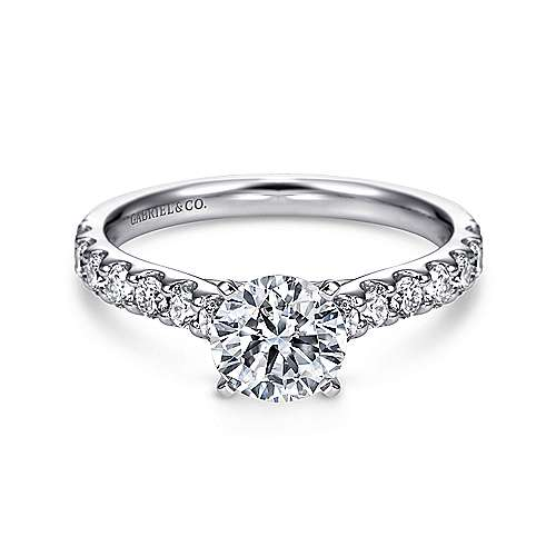 Misty 14k White Gold Round Straight Engagement Ring angle 1