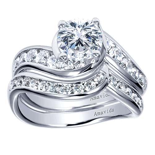 Mita 18k White Gold Round Bypass Engagement Ring angle 4