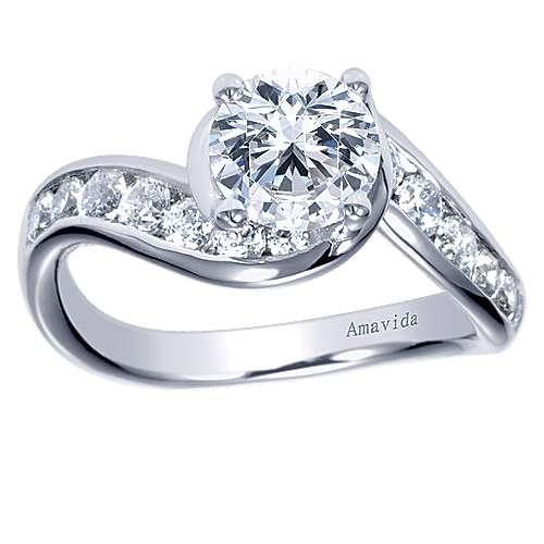 Mita 18k White Gold Round Bypass Engagement Ring angle 5