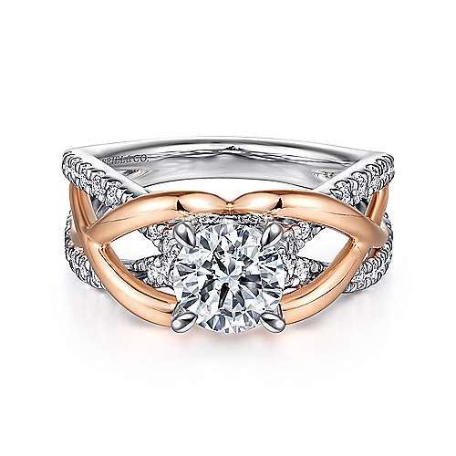 Gabriel - Monae 14k White And Rose Gold Round Twisted Engagement Ring