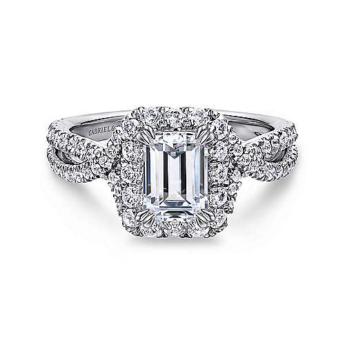 Monique 14k White Gold Emerald Cut Halo Engagement Ring angle 1