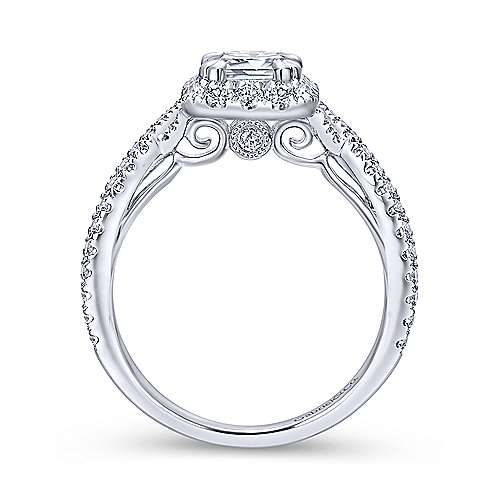 Monique 14k White Gold Emerald Cut Halo Engagement Ring angle 2