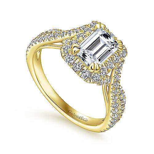 Monique 14k Yellow Gold Emerald Cut Halo Engagement Ring angle 3
