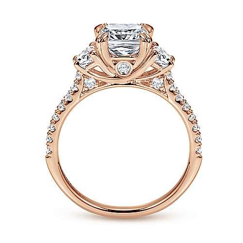 Monroe 14k Pink Gold Cushion Cut 3 Stones Engagement Ring angle 2