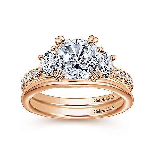 Monroe 14k Pink Gold Cushion Cut 3 Stones Engagement Ring angle 4