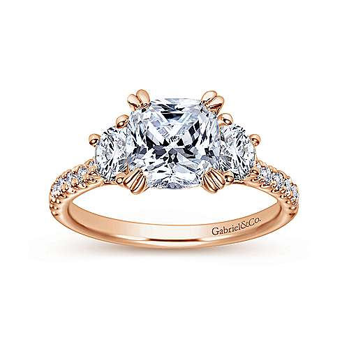 Monroe 14k Pink Gold Cushion Cut 3 Stones Engagement Ring angle 5