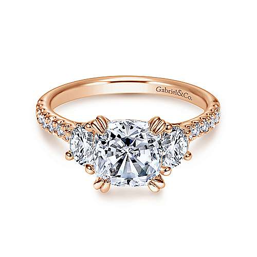 Monroe 14k Rose Gold Cushion Cut 3 Stones Engagement Ring angle 1