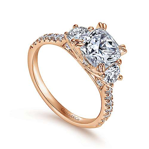 Monroe 14k Rose Gold Cushion Cut 3 Stones Engagement Ring angle 3