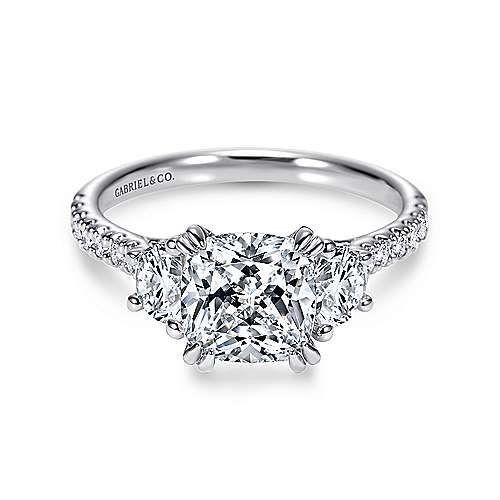 Gabriel - Monroe 14k White Gold Cushion Cut 3 Stones Engagement Ring