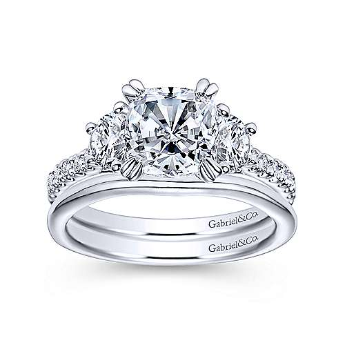 Monroe 14k White Gold Cushion Cut 3 Stones Engagement Ring angle 4