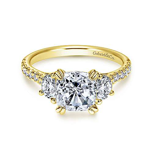 Gabriel - Monroe 14k Yellow Gold Cushion Cut 3 Stones Engagement Ring
