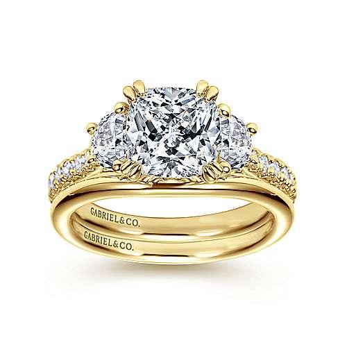 Monroe 14k Yellow Gold Cushion Cut 3 Stones Engagement Ring