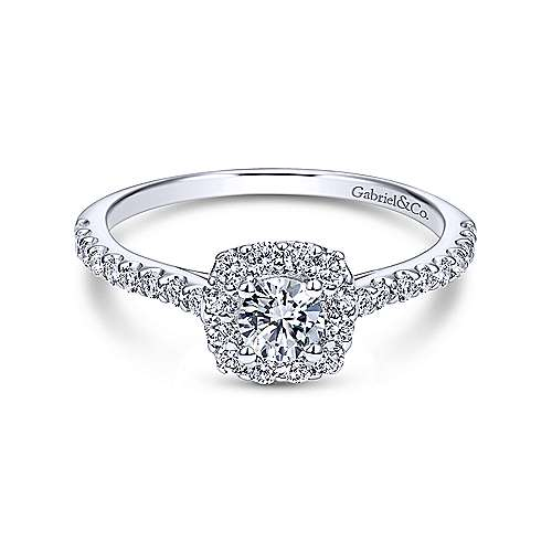 Montecito 14k White Gold Round Halo Engagement Ring angle 1