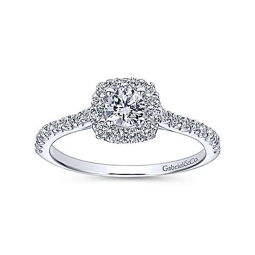 Montecito 14k White Gold Round Halo Engagement Ring angle 5
